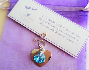 Something blue, secret charm, for the bride, sterling silver