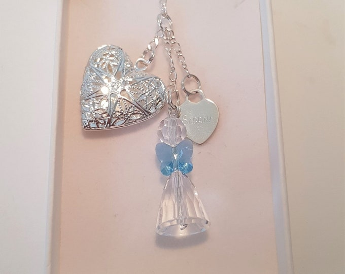Bride - Angel Bouquet Memory Charm, opening locket, Swarovski angel, can be personalised