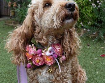 Silk Flower Dog Collar for Weddings and Proposals