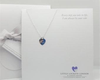 Love Always sterling silver heart pendant, personalise with initials or name