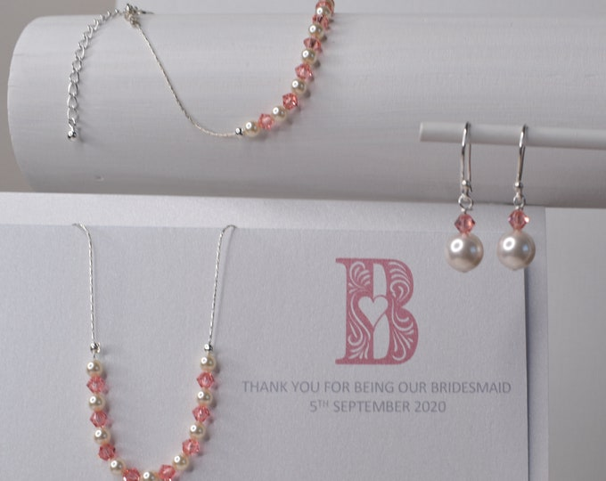 Bridesmaids jewellery, Swarovski crystals and pearls, more colours