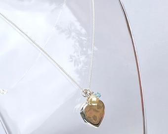 Something Blue Sterling Silver Heart Locket