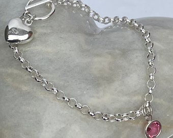 Charm Bracelet for child in sterling silver with first charm