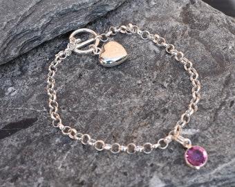 Children's charm bracelet, Baby bracelet, includes first charm, birthstone, sterling silver