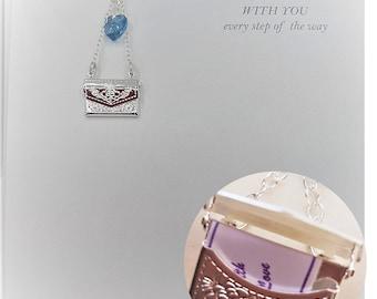 Something Blue, Wedding Bouquet Charm, Secret Message Photo locket