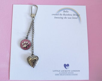 Paw Print (opening locket) keyring. Pet Jewellery Memorial