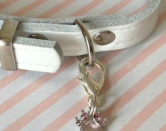 Leather Dog Collar with Swarovski Crystal Paw charm - pink or black