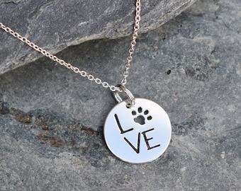 Personalised Pet Lovers Pendant, LOVE Paw Pendant, Sterling Silver,