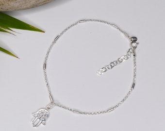 Sterling Silver Hamsa charm Anklet (or Pendant)