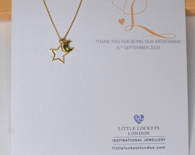 Gold Vermeil Moon and Stars Pendant, personalised