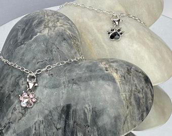 Pet lovers gift crystal paw charm bracelet