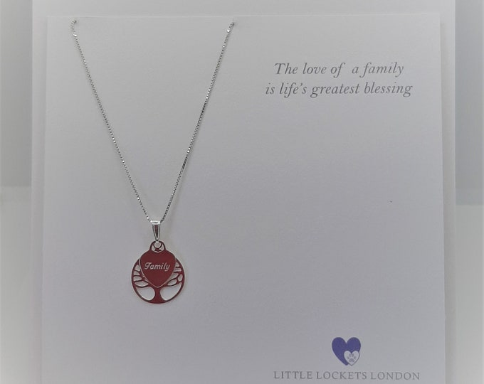 Personalised Sterling Silver Family Tree pendant
