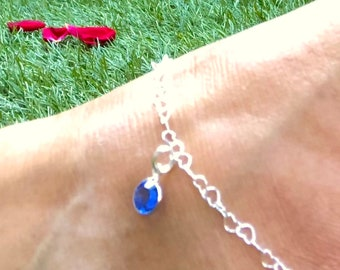 Silver Birthstone Anklet, Heart Chain, Holiday Jewellery, Yoga Jewellery, Birthstone Jewellery