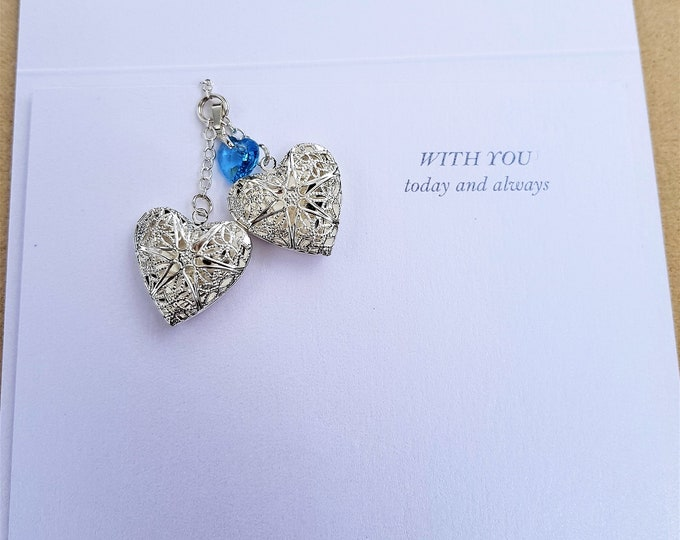 Double locket, memorial charm, brides memory charm, bouquet hanger, with you
