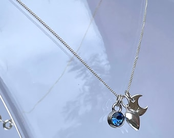 Moon and Birthstone Necklace Pendant, moonstone, personalise