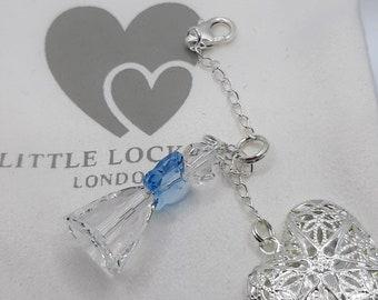 Large Heart Shaped Locket, Swarovski Crystal Angel