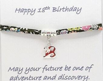 Personalised18th Bracelet, Liberty of London Fabric