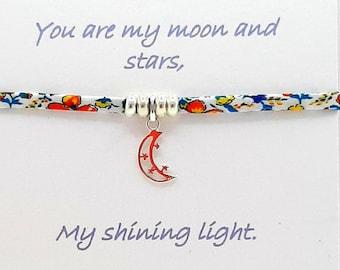 Moon and Stars Friendship Bracelet, Liberty Cotton