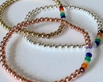 Chakra Hematine Beaded Bracelet - 7 Chakras yoga jewellery. Choice of 3 colours