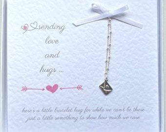 Love and Hugs Miss You Bracelet. Miss You Gift on Personalised Gift Card. Mum, Mother's Day, Gift for her, birthday