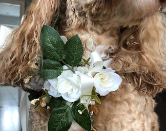 Silk Flower Dog Ring Bearer Collar