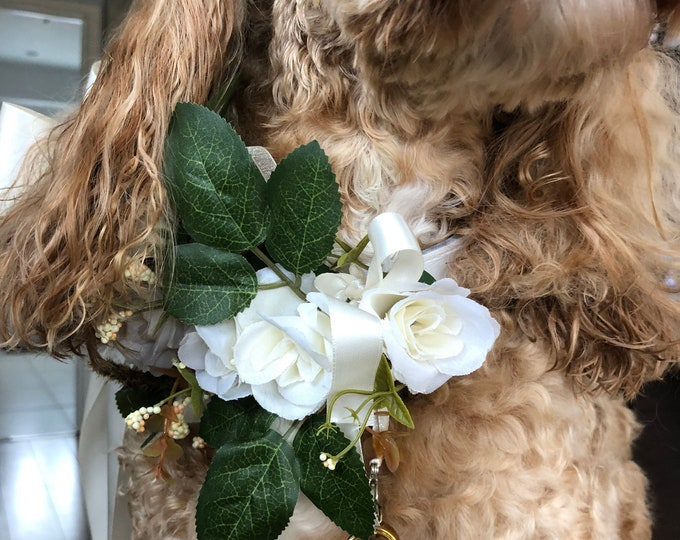 Dog Collar Silk Ivory Flowers - Weddings ANY COLOUR RIBBON, Dog Collar, Pet Collars, wedding dog, dog bridesmaid, proposal, engagement