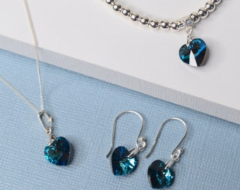 Swarovski heart gift set, choice of colours