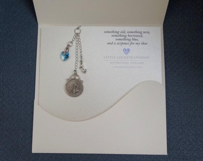Wedding Bouquet Charm with genuine British Sixpence, something blue