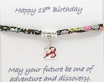 18th Birthday Ribbon Bracelet, Liberty of London
