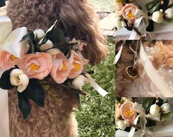 Silk Flower Dog Collar for Weddings, Wedding Dog Collar, Pet Collars, wedding dog, doggy bridesmaid, proposal, save the date