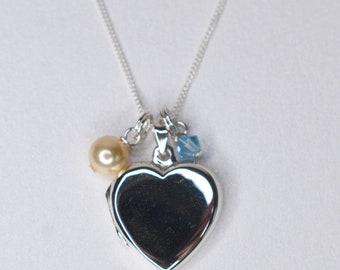 Silver photo memorial locket with Swarovski pearl and a blue Swarovski crystal