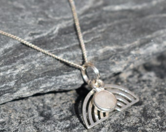 Rainbow and Moonstone pendant - Personalise with your own message