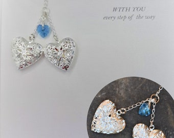 Bouquet Memorial Charm, Double, Two Opening Lockets, Wedding Memorial, Something Blue
