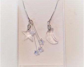 Moon and Stars Swarovski crystal earrings, sterling silver