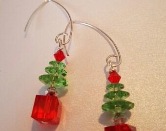Christmas Tree Earrings, Genuine Swarovski, Silver Wires