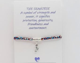 Liberty Fabric, Seahorse Bracelet