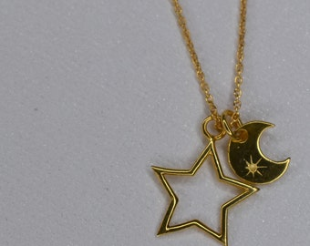 Starry Night Moon and Stars Pendant in gold vermeil