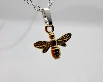Bee Pendant, available in Silver, Gold Vermeil, Rose Gold Vermeil, Personalised