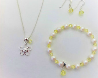 Pearl & Crystal Jewellery Set, Colour Choices
