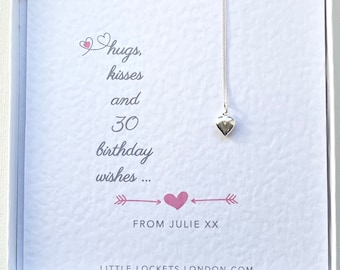 Miss You Birthday Occasion. Heart Pendant on Personalised Gift Card. Gift for her, Anniversary, Birthday, Coming of Age 18, 21