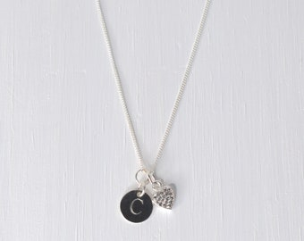 Personalised Sterling silver Sparkling Heart and Initial Disc Necklace