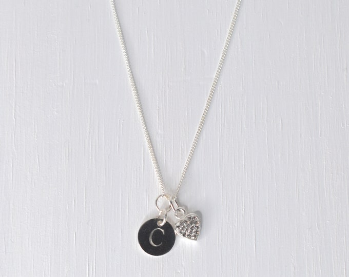 Personalised Sterling silver Sparkling Heart and Initial Disc Necklace - birthday girl, flower girl, bridesmaid gift