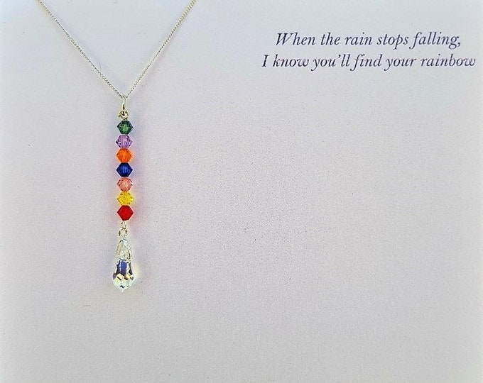 Swarovski Rainbow pendant - Personalise with your own message