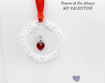Valentines Gift, Swarovski Heart Decoration, Send Direct