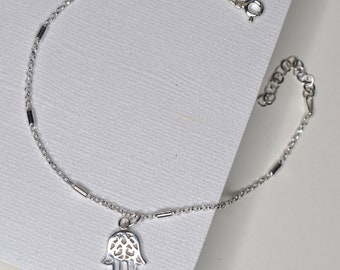Sterling Silver Hamsa charm Anklet (or Pendant), designed with inspiration in mind - happiness, luck, health, yoga enthusiast, good fortune