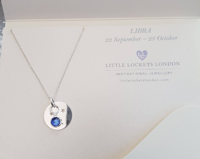 Zodiac birth sign constellation pendant, personalise with birthstone