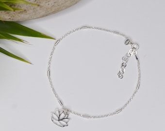 Sterling Silver Lotus flower charm Anklet (or Pendant)