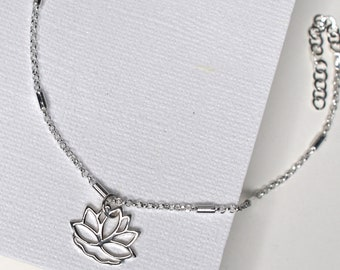Sterling Silver Lotus flower charm Anklet (or Pendant) designed with inspiration in mind - love, friendship, yoga enthusiast, you can shine!