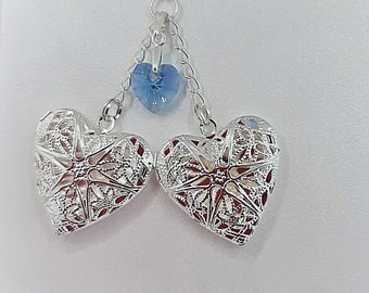 Double Bouquet Memorial Charm with Something Blue Swarovski Heart