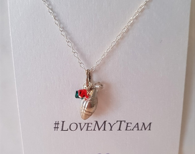 Rugby charm, #LoveMyTeam, Sterling silver rugby charm, personalised, team colours